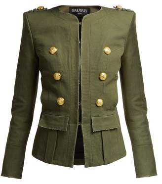 Balmain Collarless Cropped Jacket - Womens - Khaki