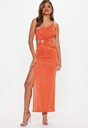 Missguided Orange One Shoulder Ring Detail Maxi Dress