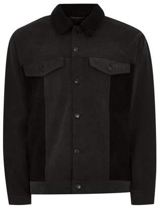 Topman Mens Black Cut And Sew Borg Denim Jacket