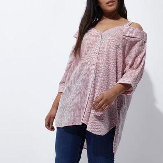 River Island Womens Plus red stripe cold shoulder collar shirt