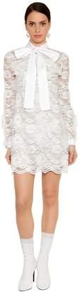 Francesco Scognamiglio Lace Mini Dress W/ Bow