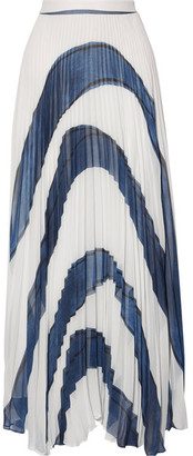 Alice + Olivia Alice Olivia - Shannon Asymmetric Pleated Printed Georgette Maxi Skirt - White $480 thestylecure.com