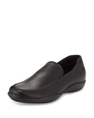 Prada Linea Rossa Leather Slip-On Loafer with Rubber Sole, Black $595 thestylecure.com