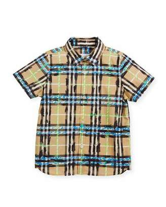 Burberry Clarkey Scribble Check Collared Shirt, Size 4-14