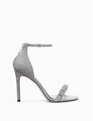 Calvin Klein high-heeled sandal in silver diamond dust leather