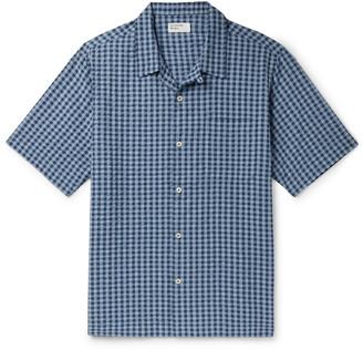 Universal Works Camp-Collar Checked Cotton-Seersucker Shirt - Men - Blue