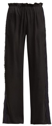 Icons Lace Trimmed Silk Trousers - Womens - Black