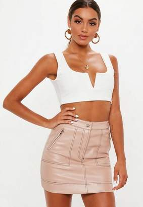 Missguided Pink Faux Leather Mini Skirt