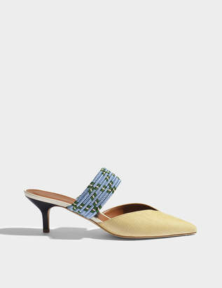 Malone Souliers Maisie Raffia mule Shoes in Natural Blue Silk Satin and Metallic Nappa Leather