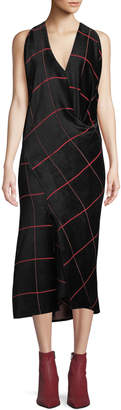 Zero Maria Cornejo Sarah Bias-Cut Grid Midi Dress