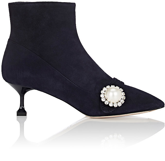 Miu Miu Women's Embellished Suede Ankle Boots