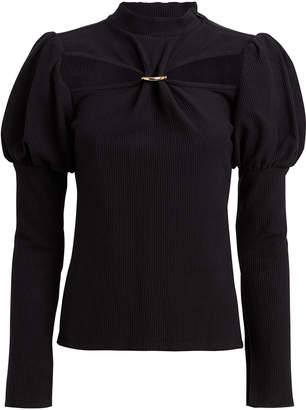 Cult Gaia Mora Rib Knit Puff Sleeve Top