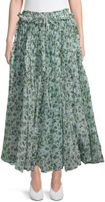 Lee Matthews Crinkle Silk Godet Skirt