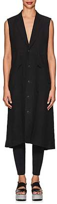 Yohji Yamamoto Regulation Women's Basket-Weave Linen Drawstring Vest - Black