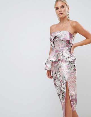 Asos Design DESIGN structured bandeau midi dress in wallpaper floral print