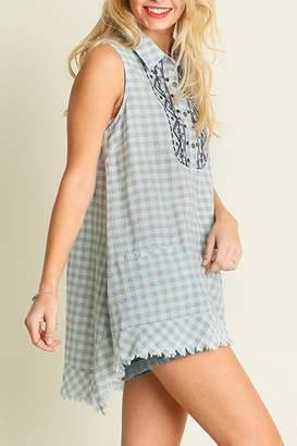 Umgee USA Sleeveless Checkered Tunic