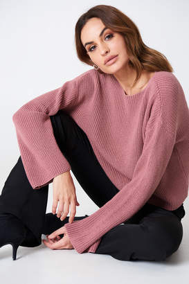 NA-KD Na Kd Cropped Long Sleeve Knitted Sweater Black
