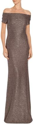 St. John Twisted Sequin Knit Off the Shoulder Gown