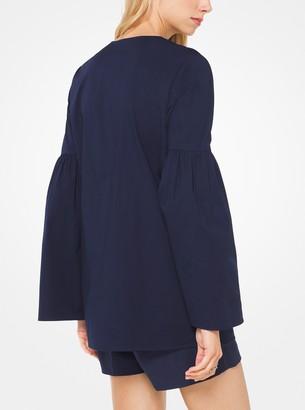 MICHAEL Michael Kors Lace-Up Cotton-Poplin Tunic