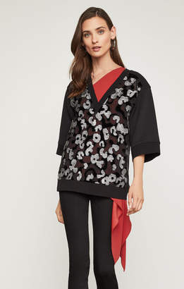 BCBGMAXAZRIA Embroidered French Terry Sweatshirt