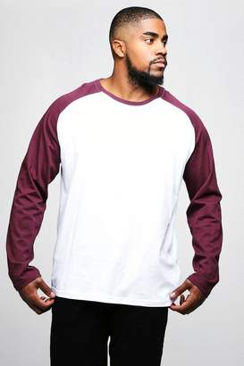 boohoo Big And Tall Long Sleeve Raglan T-Shirt