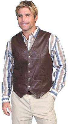 Scully Western Vest Mens Lambskin Leather Snap 3X Brown Soft 507-143