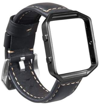 Fitbit Blaze Watch Band, Mignova Resto Genuine Leather Replacement Wrist band strap with Stainless Steel Frame for Blaze Smart Fitness Watch (Black Band + Black Frame)
