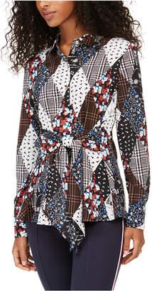Tommy Hilfiger Printed Button-Front Tie-Waist Top