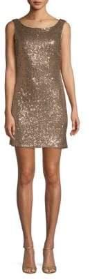 Sequin Drape-Back Sheath Dress
