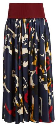 Roksanda Jeira Graphic Print Skirt - Womens - Navy Multi
