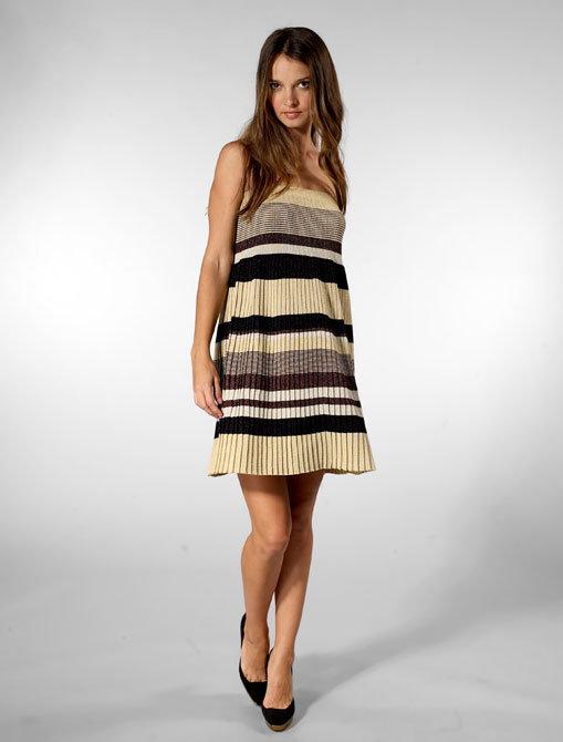 Karen Zambos Vintage Couture Strapless Dress in Metallic Stripe
