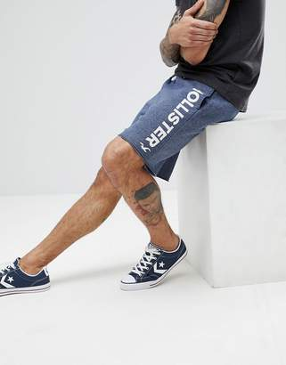 Hollister Large Logo Print Sweat Shorts in Navy Marl