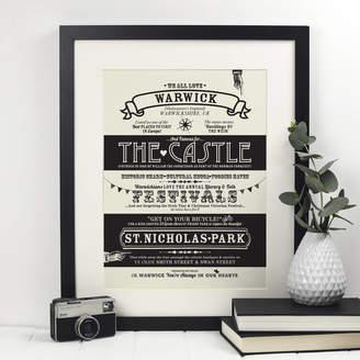 Octavia Plum Warwick Location Typography Print