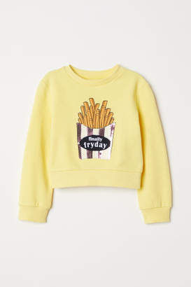 H&M Sweatshirt with Printed Design - Yellow