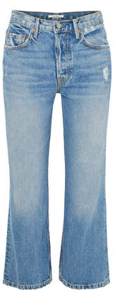 GRLFRND Linda Distressed Cropped High-rise Flared Jeans - Mid denim