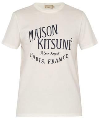 MAISON KITSUNÉ Logo Print Cotton T Shirt - Mens - Cream