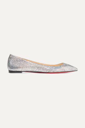 Christian Louboutin Ballalla Iridescent Glittered Leather Point-toe Flats - Silver