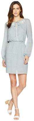 Vince Camuto Long Sleeve Melange Gauze Cinch Waist Peasant Dress Women's Dress