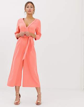 35fe4dc391 Paper Dolls wide leg culotte jumpsuit with tie waist in coral
