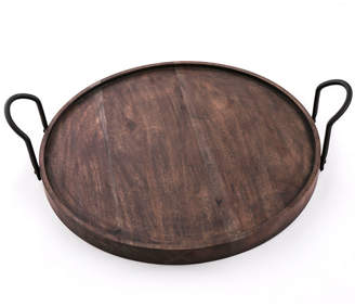 Thirstystone Round Wood Tray with Black Metal Handles