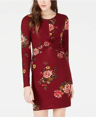 Planet Gold Juniors' Floral-Print Twist Bodycon Dress