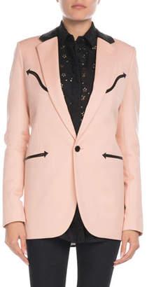 0cbb32e95e8 Saint Laurent Leather-Trim Western Blazer