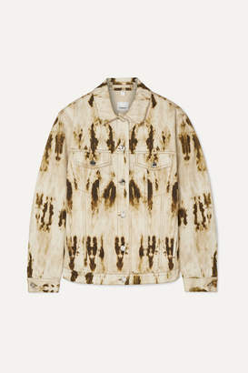 Burberry Leather-trimmed Bleached Denim Jacket - Beige