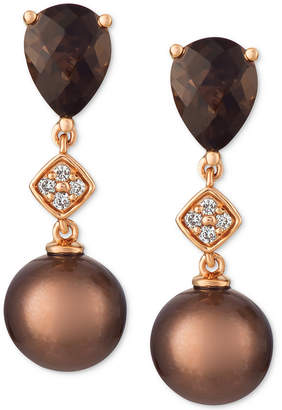 LeVian Le Vian Cultured Brown Tahitian Pearl (8mm), Chocolate Quartz (2 ct. t.w.) and Diamond Accent Drop Earrings in 14k Rose Gold