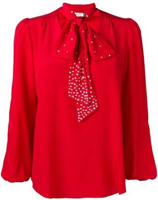 Rixo London embellished pussy bow blouse