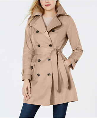 London Fog Hooded Double-Breasted Water Repellent Trench Coat