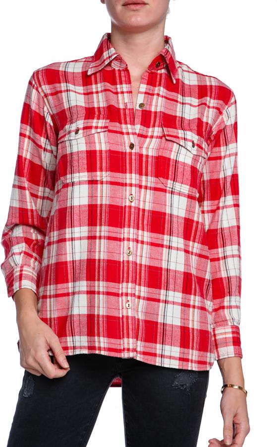 Current/Elliott Perfect Plaid Flannel Button Down Shirt