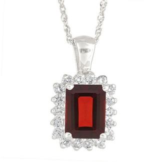Premier Emerald Cut 1.30cttw Garnet & Diamond Pendant, 14K