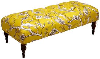 One Kings Lane Stanton Tufted Bench - Yellow/Cherry