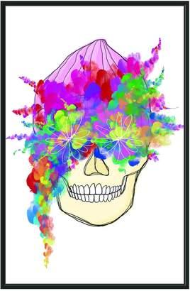 Jonathan Bass Studio Watercolor Floral Skull (Framed Canvas)